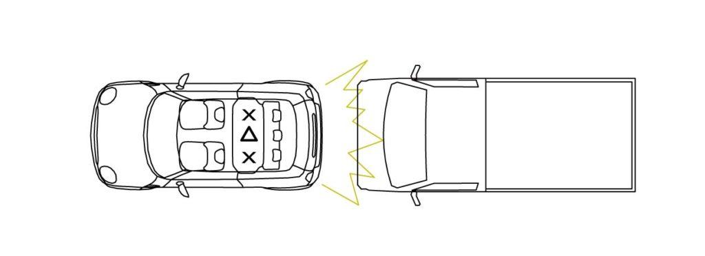 後ろからの交通事故時の後部座席中央の安全を示す画像性