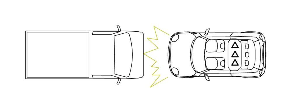 正面所突交通事故時の後部座席中央の安全を示す画像性
