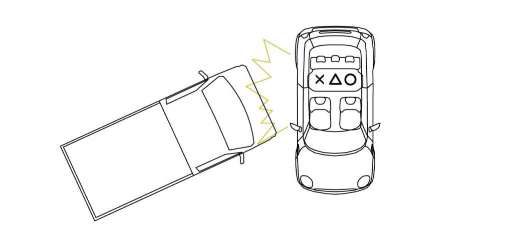 横からの交通事故時の後部座席中央の安全を示す画像性
